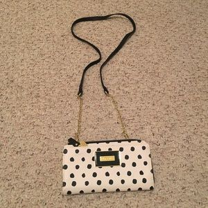 Betsy Johnson polka dot clutch purse